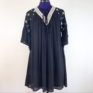 Loveriche Black and White Star Embroidered Dress